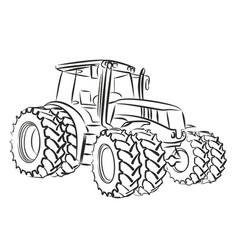 Sketch large tractor vector