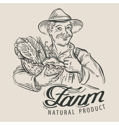sketch of a happy farmer with a basket of fresh vector image