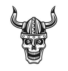 skull viking in horned protection helmet vector image