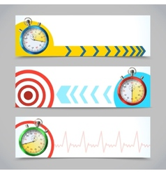Stopwatch banners horizontal vector image