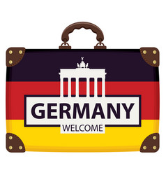 suitcase in colors of german flag vector image