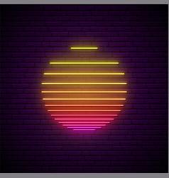 sun neon sign glowing striped sun symbol vector image