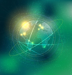 Technology elements with Earth and stars vector image