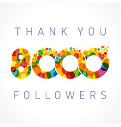 thank you 8000 followers color numbers vector image