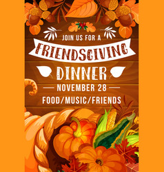 Thanksgiving day cornucopia friendsgiving potluck vector