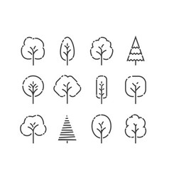 Tree icons set nature concept in linear style vector