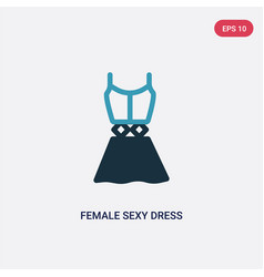 two color female sexy dress icon from woman vector image