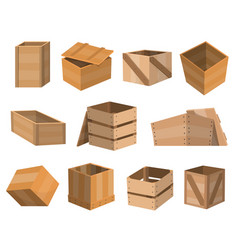 Wooden drawers boxs package wooden empty drawers vector