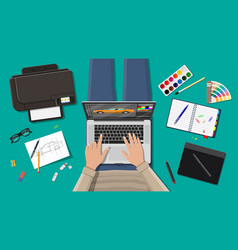 workplace of freelance designer vector image