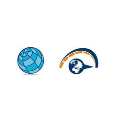 world globe logo design template set vector image