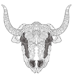 Yak head doodle with black nose vector