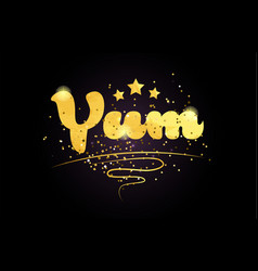 Yum star golden color word text logo icon vector