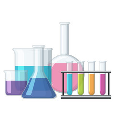 sciene beakers filled with chemical vector image vector image