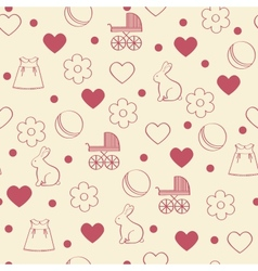 Seamless girly background vector image vector image