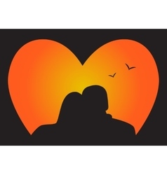 Silhouette couple in Love who look at the sunset vector image