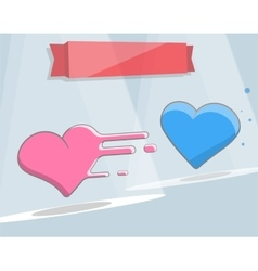 Two hearts cartoon style for vector image vector image