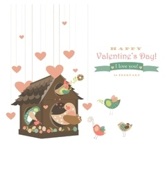Birds in love and bird house vector image vector image