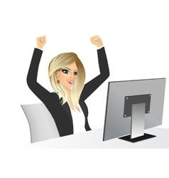 businesswoman raising her hands vector image vector image