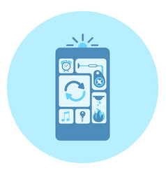 cell smart phone icon with applications interface vector image