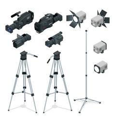 Professional digital video camera set on a tripod vector