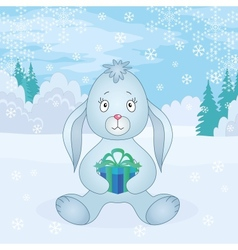 Rabbit girl with box in winter forest vector image vector image