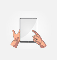 Realistic sketch hands hand hold tablet vector