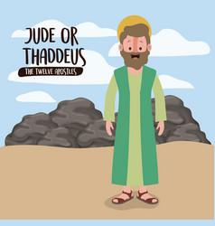 twelve apostles poster with thaddeus in scene vector image
