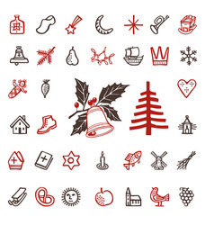 Vintage woodcut winter season holidays icons vector