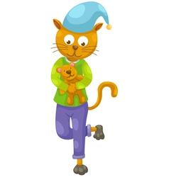 cat and teddy bear vector image