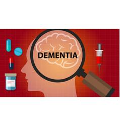 Dementia brain memory problem head neurology vector
