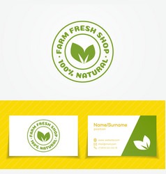 Farm fresh shop logo set with two green leaves vector