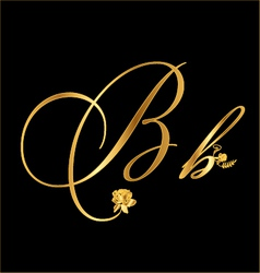 Gold letter B with roses vector image vector image
