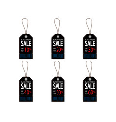 set of black friday price discount sale tag label vector image