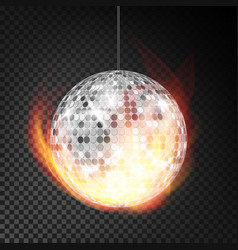 silver disco ball in fire realistic vector image vector image
