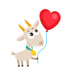 cute and funny goat holding red heart shaped vector image vector image