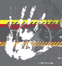 hand print on grungy background vector image vector image