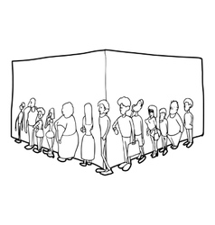 People queue icon outline style vector image