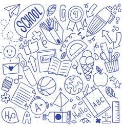 01-09-004 hand drawn set school icons vector