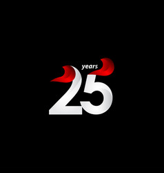 25 years anniversary celebration white and red vector