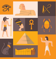 ancient egypt icons in flat style collage vector image