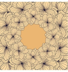 Begonia flowers round frame vector