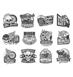 biker and motorcycle races icons skull and wings vector image