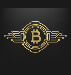 Bitcoin abstract golden symbol of internet money vector