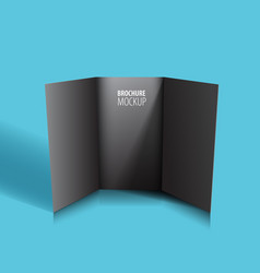 black brochure design isolated on blue realistic vector image