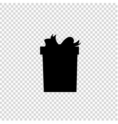 black silhouette of bow wrapped present on vector image