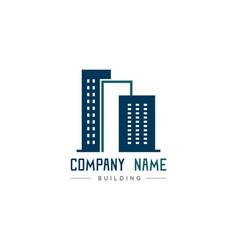 blue modern building logo on white background vector image