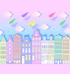 building airplanessky and clouds vector image