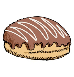 bun with chocolate vector image