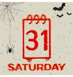 Calendar icon 31 october halloween grunge vector