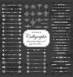 calligraphic dividers and elements on chalkboard vector image